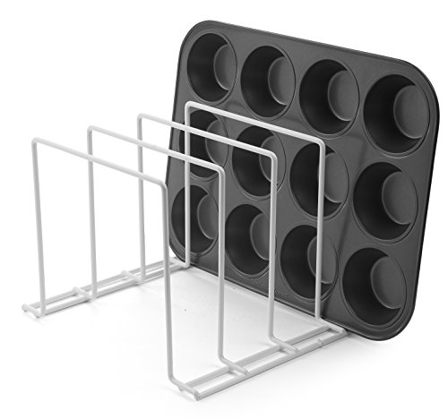 Stock Your Home Large Rust-Free Durable Coated Steel Bakeware Organizer - Lid Organizer and Kitchen Cookware Rack for Dinnerware, Bakeware, Cookware, Cutting Boards, Pot, Pan Lids (White, 2 Pack)