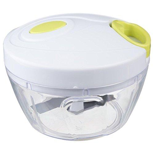 Mini hachoir manuel à 2 lames inox - Pratique et utilisation facile - Coloris Blanc et Vert