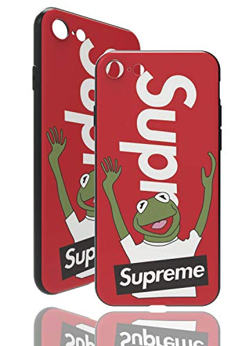 SUP Frog Hülle [ Passend für iPhone 7/8, in Rot ] Supreme x Kermit der Frosch Hülle - Fühlbares 3D-Motiv Cover