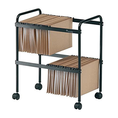 Rocada | Soporte para archivadores | Archivador para carpetas colgantes | Mueble Archivador para Documentos | Carro Carpetero Color Negro | Regulable, Capacidad para 80 Carpetas