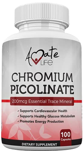 Amate Life 200mcg Chromium Picolinate Supplement for Healthy Lipid, Metabolism and Weight Management Support – High Absorption Rate & Bioavailability - Non GMO & Formulated in The USA 100 Capsules
