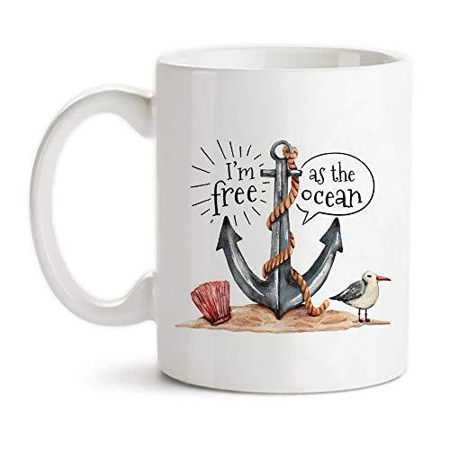 Acuarela ancla gaviota y ostra con el océano Taza de la cita, soy libre como el océano, 11 oz de café de cerámica de la novedad de la taza de té /, taza del regalo