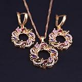POSDN Lucky Redondo círculo Colorido Zircon Color de Color Traje Conjunto de Joyas Collar Pendientes con Colgante Grande