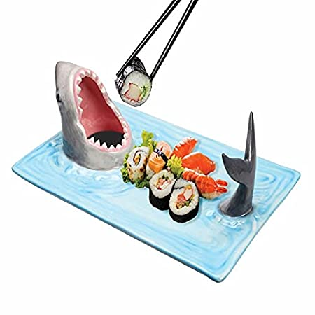 Shark Attack Sushi Platter - Hand-Painted Ceramic Food Serving Tray with Soy Sauce Holder and Chopstick Rest