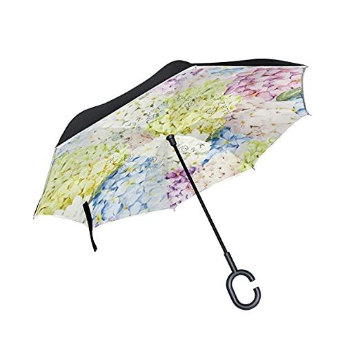 Paraguas plegables Colorido Arte De Flores Paraguas Invertido Antiviento Protección contra Rayos UV Ligero Compacto Invertida Paraguas para Coche Viajes Playa Mujeres Niños Niñas