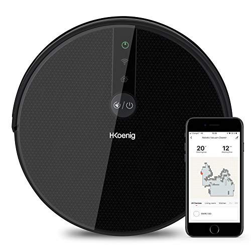 H.Koenig SWRC130 - Aspirapolvere robot Gyro+ WaterMop collegato WiFi, pulitore intelligente, potente, silenzioso, veloce, installazione 120 min, 4 cicli, programma ebdo, filtro HEPA