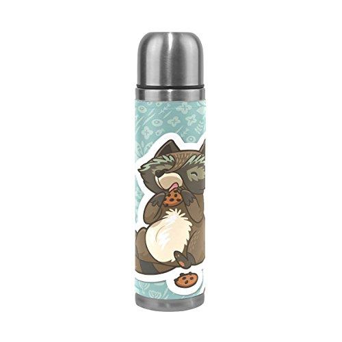 Eslifey Trinkflasche mit süßem Waschbär zum Essen von Keksen, auslaufsicher, Edelstahl, Thermoskanne, 500 ml