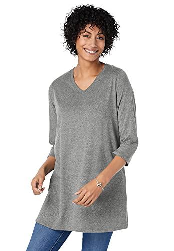 Woman Within Women's Plus Size Perfect Three-Quarter Sleeve V-Neck Tunic - 1X, Medium Heather Grey Gray