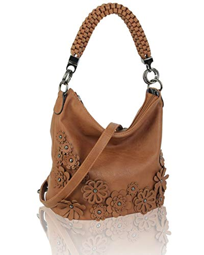 LeahWard Women's 3D Flower Handbags Soft Shoulder Bags Tote Handbag For Womens Holiday 1048 (Brown)