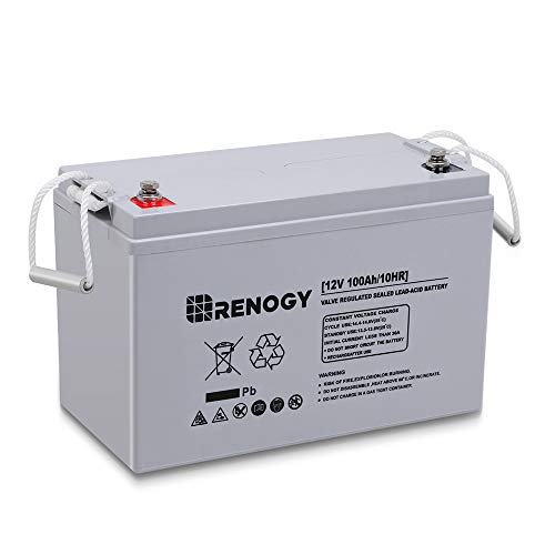 Renogy Deep Cycle AGM Battery 12 Volt 100Ah for RV, Solar Marine and Off-grid Applications, Gray