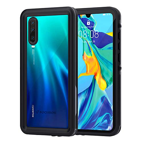 Focusor Cover Huawei P30,Custodia P30 Impermeabile[IP68 Certificato Waterproof]Cover Slim Antiurto Antineve Antipolvere AntiGraffio Subacquea Protettiva Caso per Huawei P30(Nero)