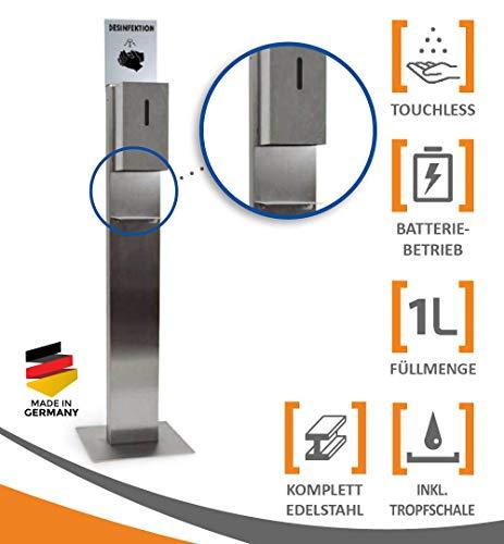 MyMAXXI | Hand Desinfektionsmittelspender Station Sensor STEEL Edelstahl Spender Set 3x 1L Desinfektionsmittel stehend automatisch | touchless disinfection Desinfektionsspender Standfuß Dosierpumpe
