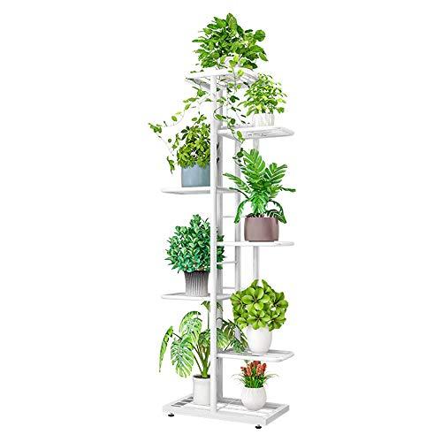 ZZBIQS Soporte de metal de 7 niveles para plantas, con varios soportes para macetas, organizador de almacenamiento para esquina interior en el balcón (blanco)