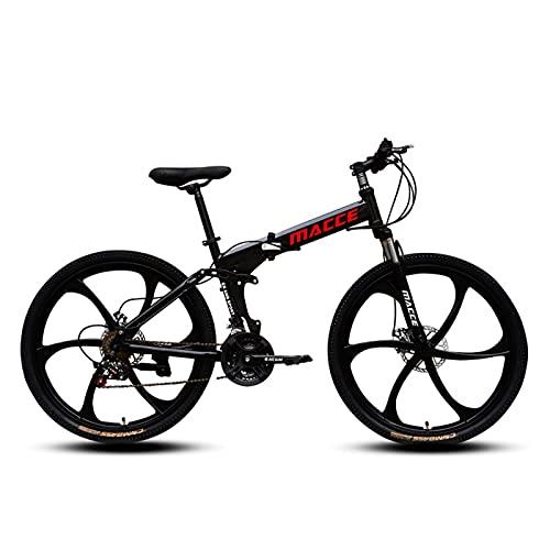 GUHUIHE 26 en Bicicleta de montaña 21 Velocidad Bicicleta suspensión Completa MTB Bicicletas (Color : Black, Size : 21)