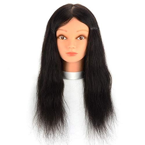Real Hair Mannequin Head Barber Shop Perm Teinture Des Cheveux Pratique Perruque TêTes D'Exercice Tete Modèle Maquillage Coupe De Cheveux Pratique Tétine,20inches
