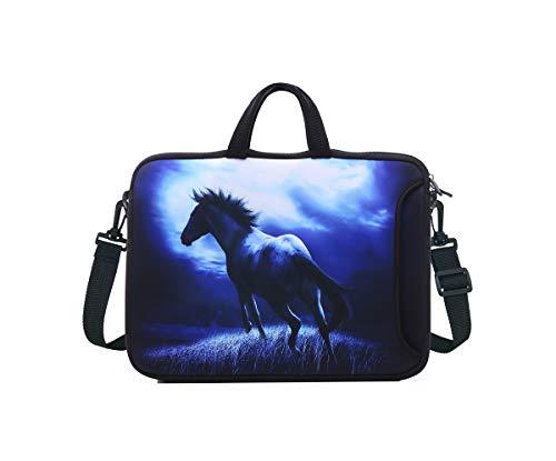 YIDA Laptop-Schultertasche und Tablett-Tasche für die meisten iPad/Notebook/eBook/Reader, 25,4 cm (9,7 Zoll), 25,7 cm (10,2 Zoll), blaues Pferd