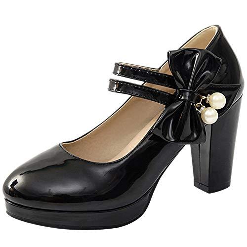 BeiaMina Donne Sweet Ufficio Scarpe Bow Cinturino alla Caviglia Mary Jane Tacco Blocco Pump Partito Scarpe con Tacchi Sintetico Brevetto Black Size 32 Asian