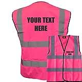 Personalised Custom Printed Pink Hi Vis Hi Viz Safety Vests Waistcoats, Ideal For Events, Schools,Medium