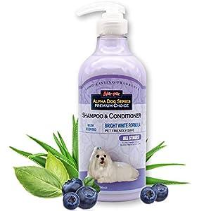 Alpha Dog Series Bright White Grooming Natural Dog Shampoo and Conditioner with Aloe Vera, pH balanced Shampoo for Dogs, Tear-Free, Moisturizing Dog Shampoo for Sensitive Skin – 26.4 Oz