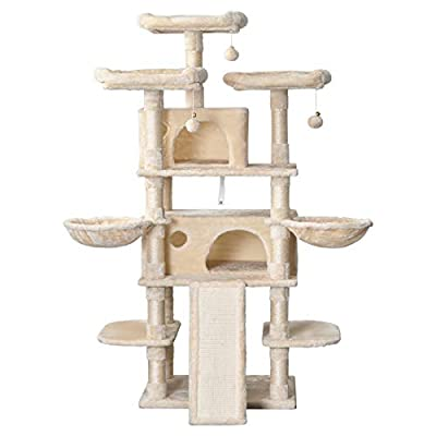 Amolife Heavy Duty 68 Inch Multi-Level Cat Tree King/X-Large Size Cat Tower with Cozy Perches, Stable for Large Cat/Big Cat in Beige