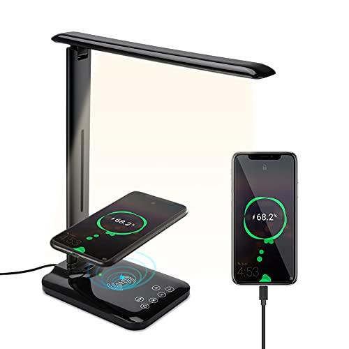 Beinhome Lámpara Escritorio LED Lámparas de Mesa con 10W Cargador Inalambrico, 3 Modos, 5 Niveles de Brillo, Control Táctil, Temporizador, Flexo Escritorio Lámparas para Estudio Lectura, Negro