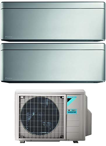 Climatizzatore Dual Split 9000 + 12000 Btu, Inverter, Classe A+++/A+++ Gas R32 W-Fi colore Silver 2MXM50M9+FTXA25/35AS Stylish