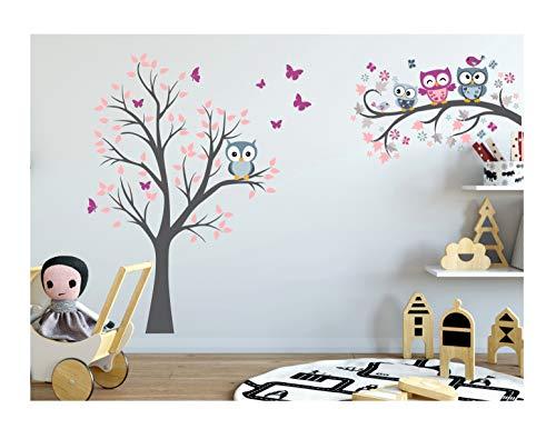 Wandtattoo kinder Babyzimmer Aufkleber Eule Eulen Wandsticker Wand Waldtiere Kinderzimmer Wandaufkleber Dekoration fürs Baby Kindergarten Baum Tiere Grau MK212XL