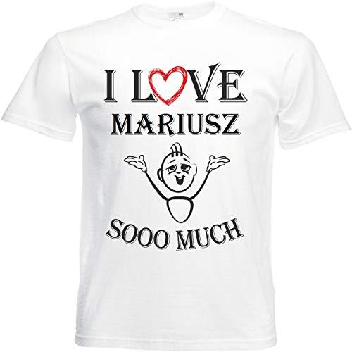 Camiseta I Love Mariusz para mujer, hombre y niños en color blanco. Blanco L