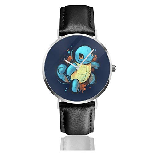 Unisex Business Casual Monster of The Pocket Squirtle Hand gezeichnet Kunst Uhren Quarz Leder Uhr mit schwarzem Lederband für Männer Frauen Junge Kollektion Geschenk