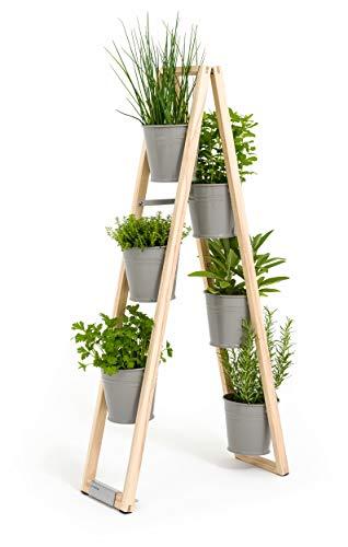 Pflanzleiter, Blumenregal, Blumenleiter, Kräutertöpfe 2 in 1, kann frei Stehen oder hochgestellt an Einer Wand...