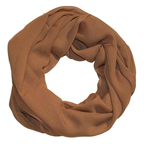 MANUMAR Loop-Schal für Damen einfarbig | feines Hals-Tuch in braun als perfektes Herbst Winter Accessoire | Schlauch-Schal | Damen-Schal | Rund-Schal | Geschenkidee für Frauen und Mädchen