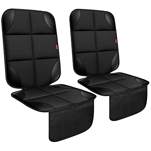 Car Seat Protector 2 Pack Car Seat Cushion Mat Thickest Padding,Waterproof 600D Fabric Car Seat Covers Waterproof Stain Resistant Protective for Non-Slip Backing Mesh Pockets for Baby and Pet