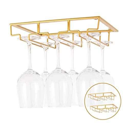 KGYA Wine Glass Holder-Two Pack 3 Rows Under Cabinet Stemware Rack Wine Glass Rack Hanger Storgae for Home Bar,Kitchen (Gold)