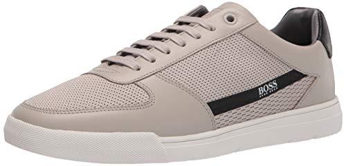 BOSS HUGO BOSS Men's Leather Snesker Sneaker, Sand, 8
