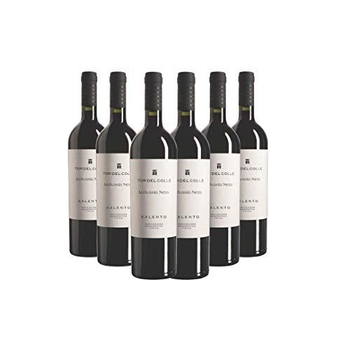 TOR DEL COLLE Malvasia Nera Salento IGT, Vino Rosso, Ideale per Zuppe e Risotti con Verdure, Arrosti di Carni Bianche o con Salse, 6 x 750 ml, Made in Italy, 11% Vol