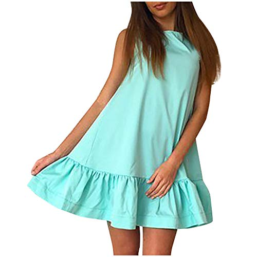 Janly Clearance Sale Vestido de mujer para mujer, casual, cuello redondo, color sólido, sin mangas, suave, plisado, para invierno, Navidad, día de San Valentín (azul claro-L)