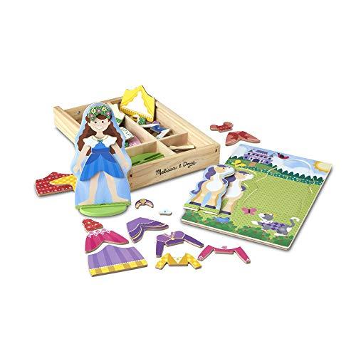 Melissa&Doug - Juego de imitación, de muñecos de madera para vestir con piezas magnéticas - Princesa y caballo (35 piezas)