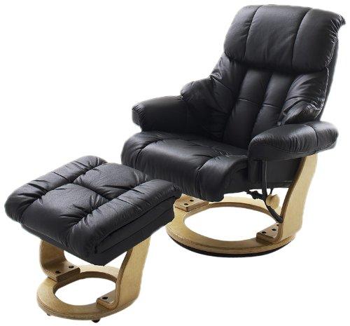 Robas Lund Leder Relaxsessel TV Sessel mit Hocker bis 130 Kg, Fernsehsessel Echtleder schwarz, Calgary