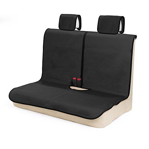 TanYooカーシートカバー 防水 後席用 軽自動車適用 ずれにくい SBRボンディング シート保護 ブラック(ヘッドレストカバー付き)