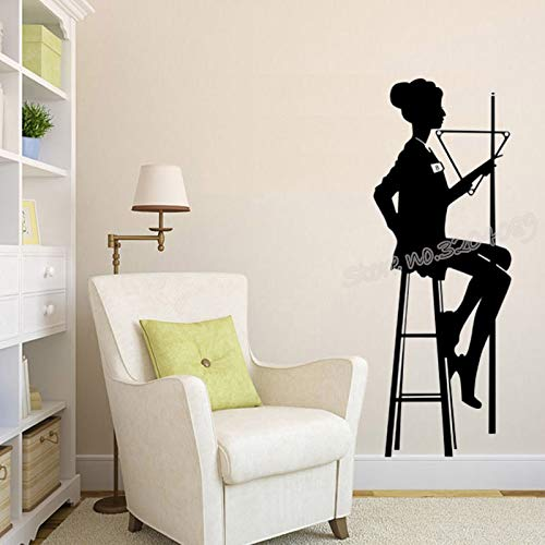billiard female Player Silhouette wall Sticker Snooker Pool room Sports Club 42X113cm