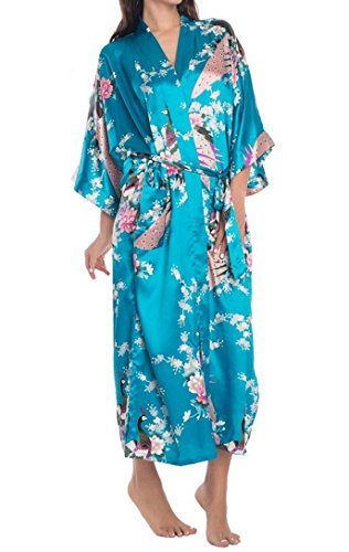 Femme Chemise de Nuit Soie Artifielle Paon Fleur - Kimono Robe de Chambre Longue avec Ceinture - Bleu - Taille 2XL