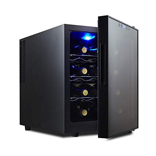 MINGDIAN Enfriador termoeléctrico con Controles Digitales de Temperatura, Capacidad para 6 Botellas, Bodega con Puerta de Vidrio Aislante de Doble Hoja, Negro