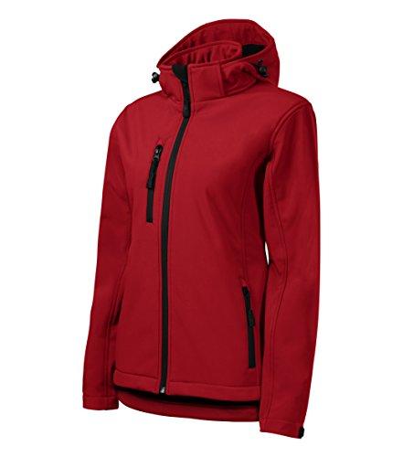 Chaqueta Soft-Shell de OwnDesigner by Adler para mujeres con Cintura Incluida, Capucha desmontable y altamente resistente al agua (Rojo - Talla: S)