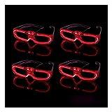 BLINXS 4er Set LED Brille / Leuchtbrille / Spaßbrille Laser - rot Leuchtend / blinkend - für Party, Karneval, Festival, Konzerte und Club - mit austauschbaren Batterien