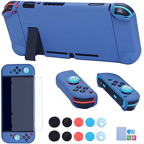 Dockable Case for Nintendo Switch - COMCOOL 3 in 1 Protective Cover Case for Nintendo Switch and Joy-Con Controller with Screen Protector and Thumb Grips - Pacific Blue