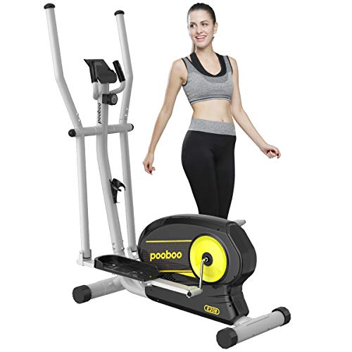 Afully Elliptica Machine Eliptical Trainer with 8 Levels Magnetic Resistance,Tablet Holder, LCD Monitor, Pulse Sensors, Smooth and Quiet for Home Use.