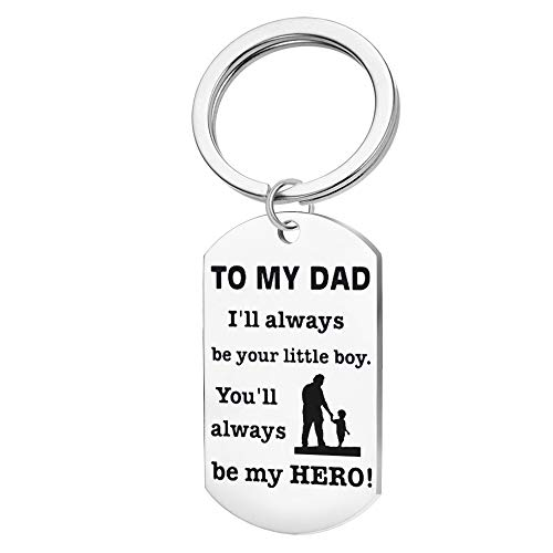 Father's Day Keychain Necklace Gift from Son Dad Papa I Love You Stainless Steel mens Birthday Gift- I'll be your little boy.You'll always be my Hero(To My Dad Keychian)