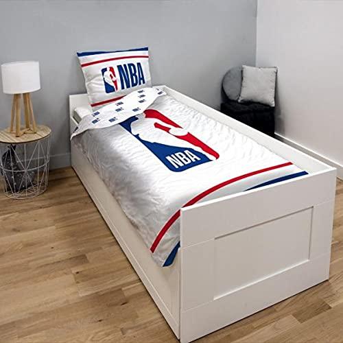 Funda de edredón de baloncesto NBA, azul y blanco, para niño, 140 x 200 cm, 1 persona, 100 % algodón.