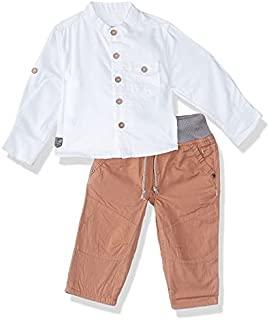 Giggles Chest Pocket Long Sleeves Button-Down Shirt with Elastic Drawstring Side Pocket Pants for Boys