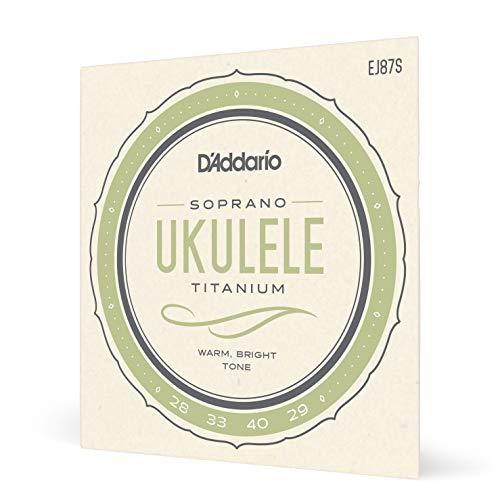 D'Addario EJ87S - Juego de cuerdas para ukelele soprano de titanio, Negro